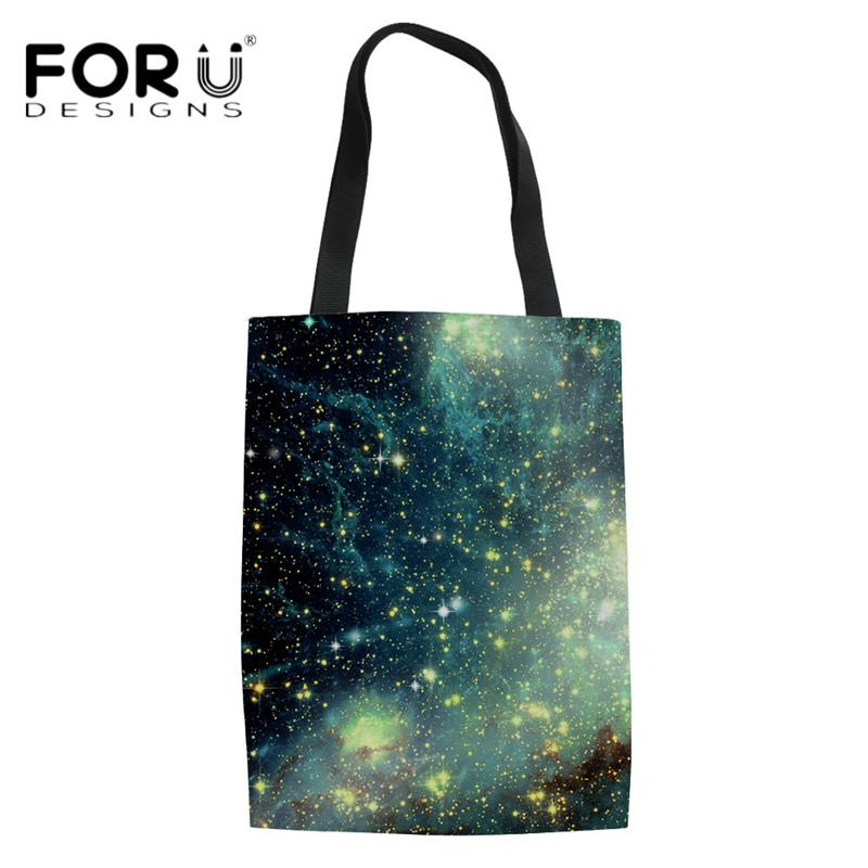 eaf8603fd1 FORUDESIGNS Youth Girls Cloth Tote Bags Universe Space Galaxy 3D Print Women  Summer Beach Bag Girls High Quality Magazine Bolsa Reusable Grocery Bags  Womens ...