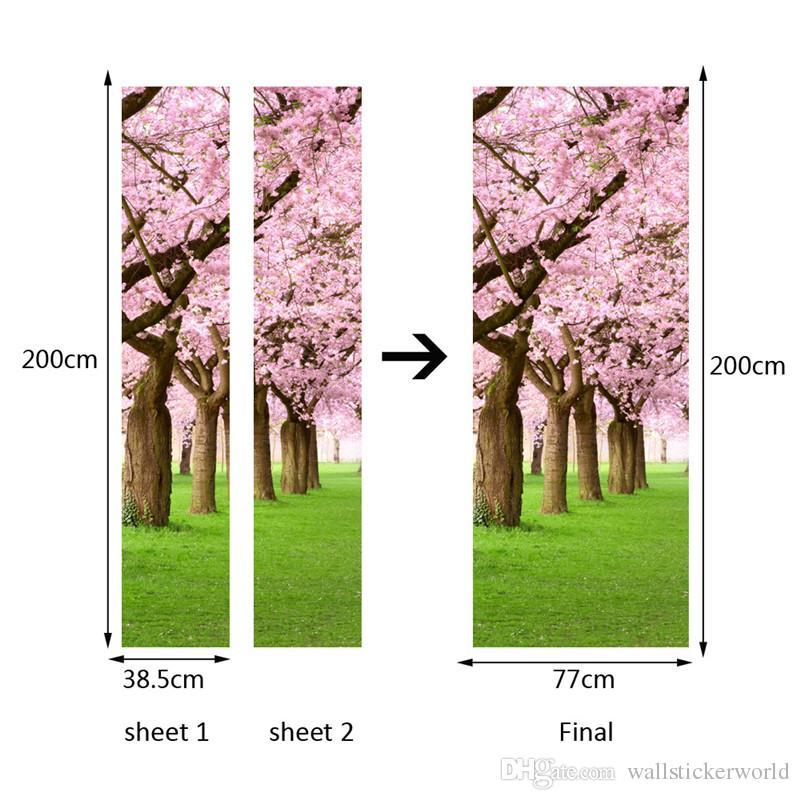 2 Pçs / set Novo Auto-Adesivo Adesivos De Parede De Flores De Cerejeira Árvore Porta Do Quarto de Renovação Decalques Art Fundo De Madeira Porta Adesivos