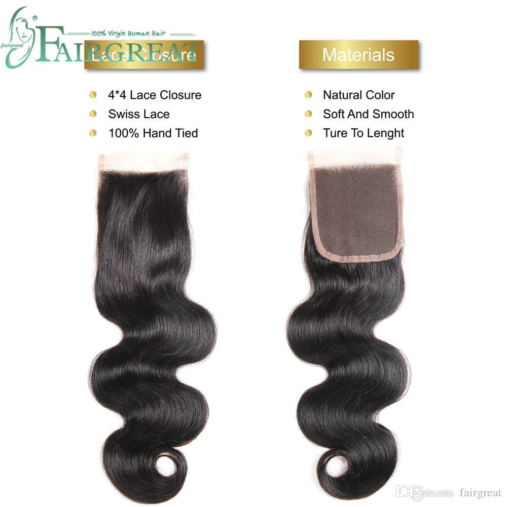 Fairgreat 6 paketler Remy İnsan saç Düz vücut dalga Kapatma Ile İnsan Saç Demetleri Ile Dantel Kapatma Brezilyalı İnsan saç Uzantıları