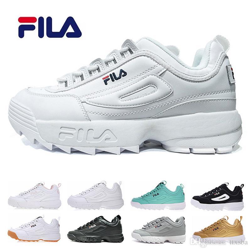 c02210b19de105 Acquista Original FILA Disruptors II 2 Triple Bianco Nero Grigio Rosa Donna  Uomo Sneaker Sportivo Sezione Speciale Scarpe Casual Casual Eur 36 44 A   88.33 ...