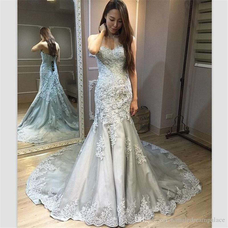 Modest 2018 New Arrival Silver Gray Lace Wedding Dresses Mermaid ...