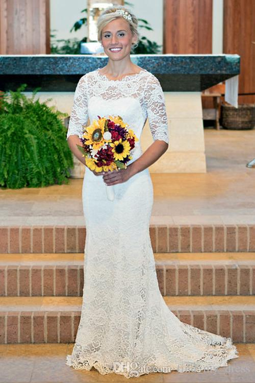 Castle Backless Three Quarter Sleeve New Sheer Lace Mermaid Wedding Dresses Sweep Train Bridal Gowns Appliques Custom Made Stunning Romantic