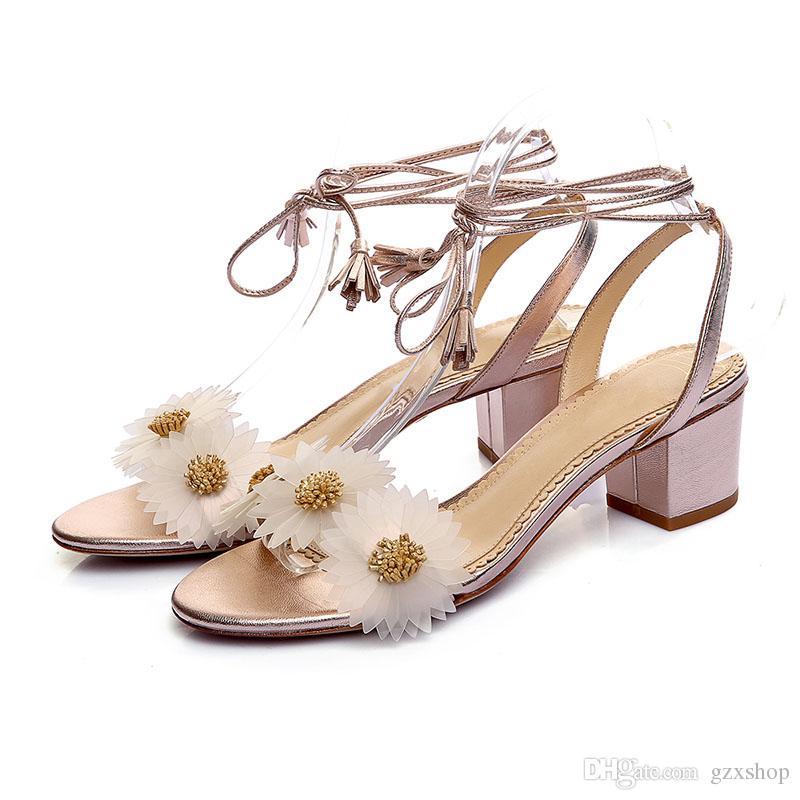 f6089bfddcc Thick Heels Sandals Summer Shoes High Heel Flower Sandals Women Open ...