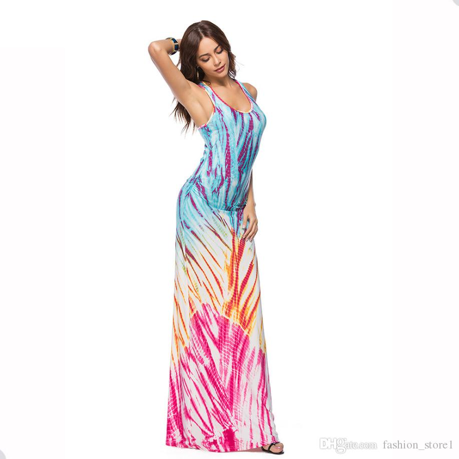 13d28642a0b 2018 Long Maxi Print Dress Strapless Summer Gowns Pencil Bandage Dresses  Vestidos Casual Party Dress 11 Style S-5xl Big Size