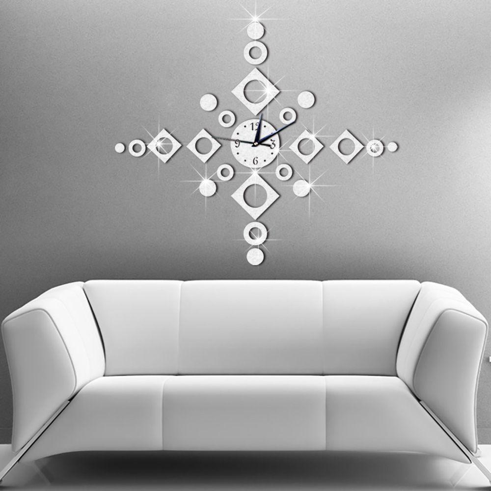 Acquista 65x65cm home decor grande orologio da parete design moderno windbell geometrica soggiorno orologio da parete decorativo design orologi da parete a