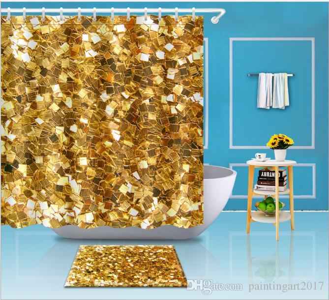2019 Gold Copper Sparkle Modern Dots Polka Dot Shower Curtain Waterproof Polyester Fabric Bathroom Decor Printed From Paintingart2017