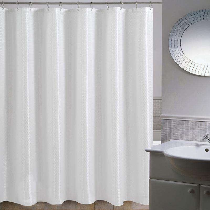 2019 High Quality Mildew Free Water Repellent Fabric Extra Long Shower Curtain Liners For Bathroom Weight Hem White Diamond With Ring From Lienal
