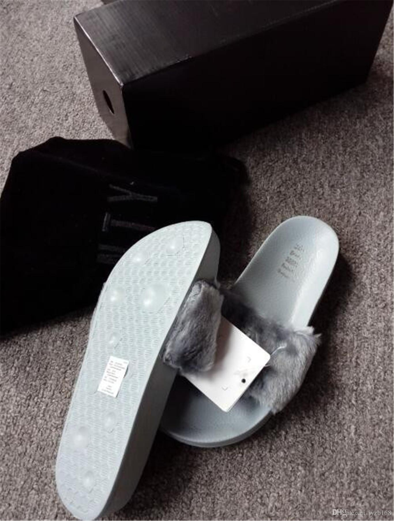 668f40f8e With Box And Dust Bags Brand New 2016 Rihanna Fenty Leadcat Fur Slides Pink,  Black, White Slide Sandal Womens Slippers Retail Thigh High Boots Booties  From ...