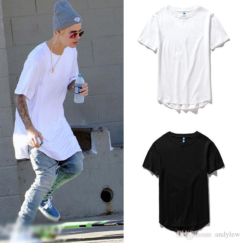 da16e257c men's T Shirt Kanye West Extended T-Shirt Men's clothing Curved Hem Long  line Tops Tees Hip Hop Urban Blank Justin Bieber Shirts