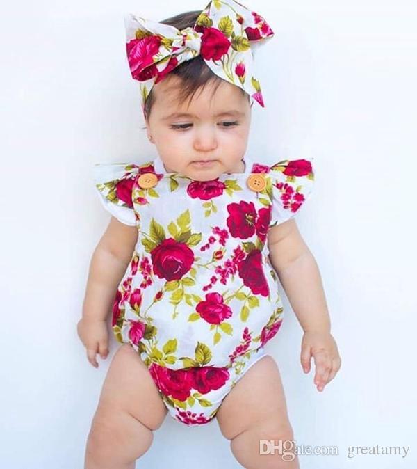 Neugeborenes Baby kleidet Sommerblumenspielanzugoverall onesies + Stirnband Kinderkleidungsboutiqueausstattungsbaby-Mädchenkleinkind 0-24M