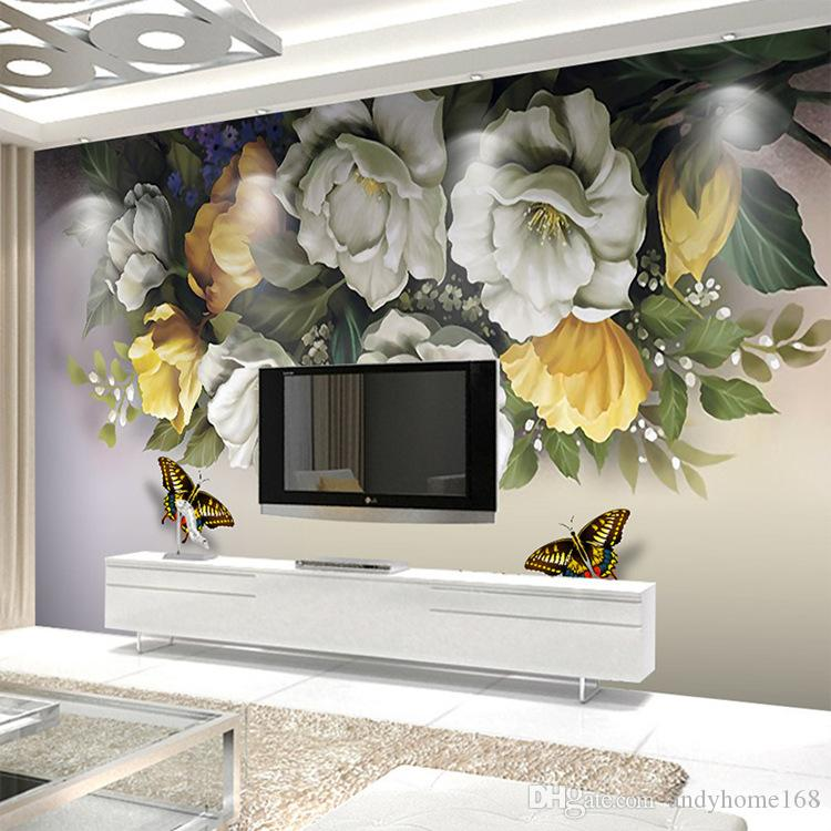 Cheap Sale Beibehang Custom Wallpaper Vintage Floral Flowers And Birds Modern Minimalist Abstract Tv Background Wall Painting 3d Wallpaper Home Improvement Wallpapers