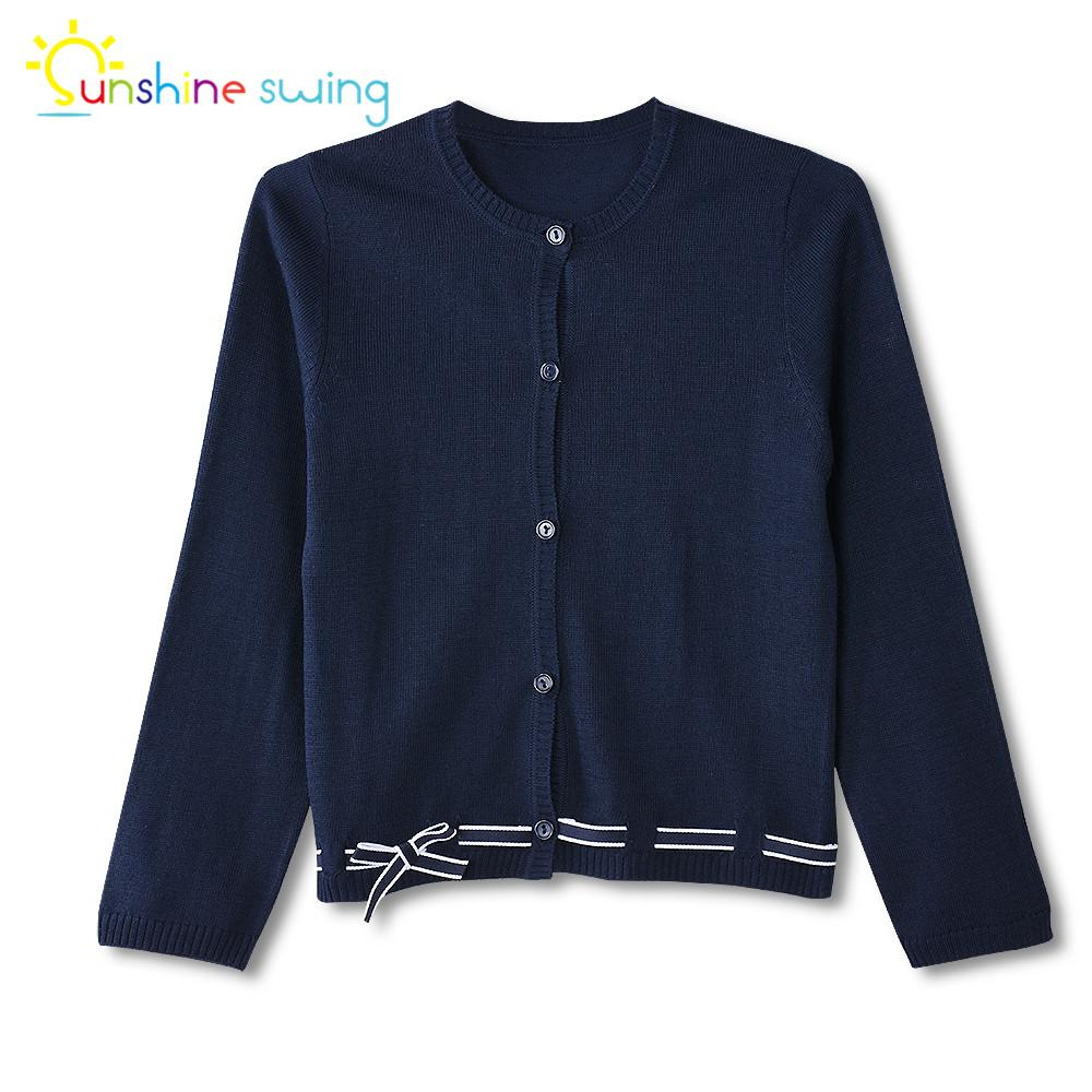 Sunshine Swing Cute Bow Long Sleeve Cardigan Sweater For Girls Kids  Children Long Sleeve Crew Neck Spring Sweater Top