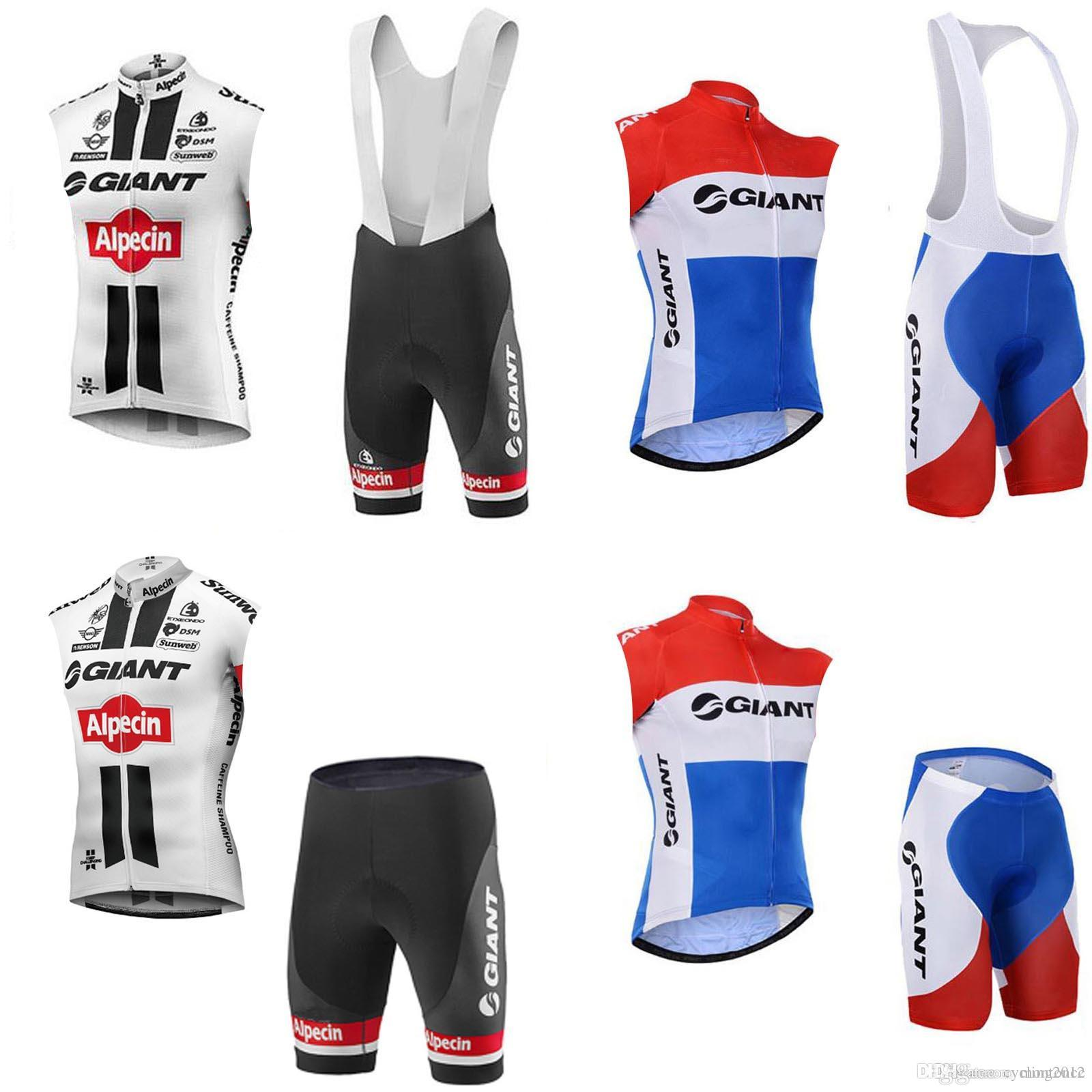 ed9600fa Hot sale new GIANT Sleeveless jersey Vest bib shorts sets 3D gel pad  Breathable Quick dry team sport Bicycle clothing free shipping F0814