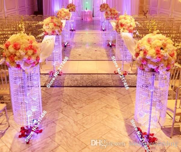 Wedding Flower Pillars: Iridescent Sq Plexi Wedding Aisle Decoration Crystal