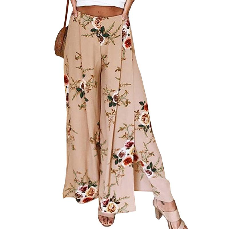 2ce98bb7e9 2019 Beach Long Pants Ladies Women Elastic Waist Side Split Wide Leg Pants  2018 Summer Casual Loose Floral Print From Vanilla06, $33.49 | DHgate.Com