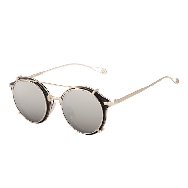 Compre Cubojue Clip En La Lente Gafas De Sol Redondas Mujeres Hombres Gafas  De Sol Femeninas Puntos De Círculo Steampunk Gafas De Sol Mujer Espejo Gafas  De ... e5829a9d7712