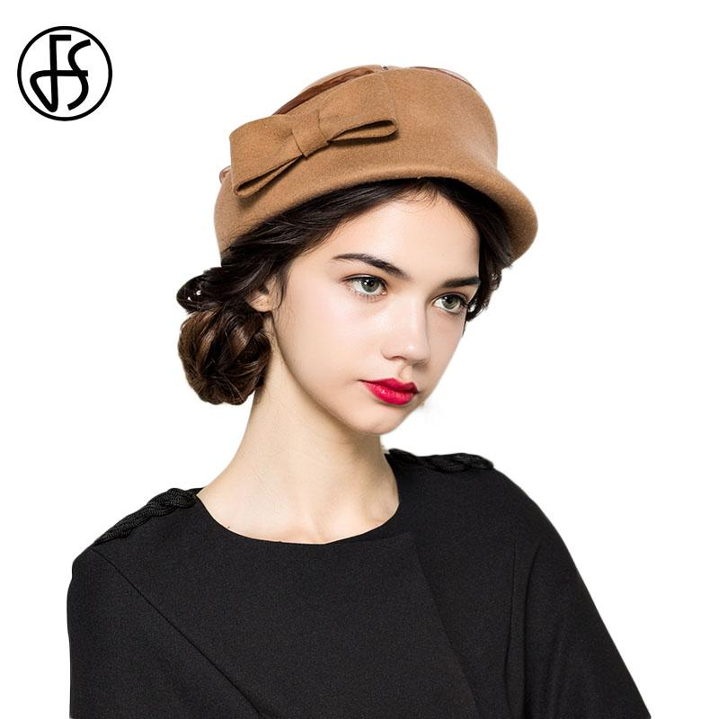 6040e6a4c74 2019 FS Wool Beret Hat Red Ladies Black Fedora Bowknot Winter Felt Hats For  Women French Lady Artist Girls Berets Cap Chapeau Femme From Qiufenshi