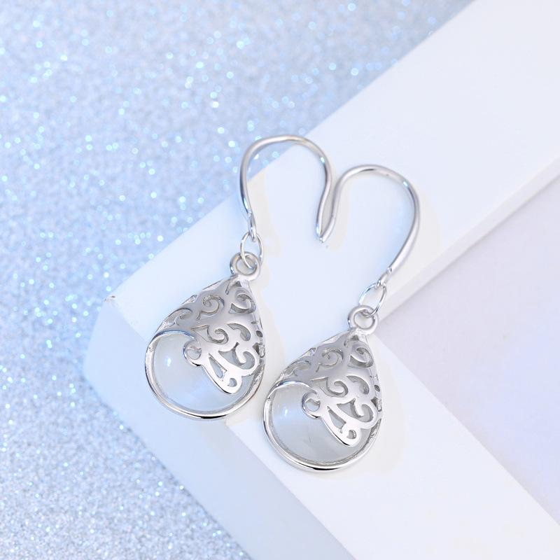 Fashion Moonstone Stone Pendant Earring For Women Jewelry Set Hollow Design Fits Wedding Party Girlfriend Gift Jewelry
