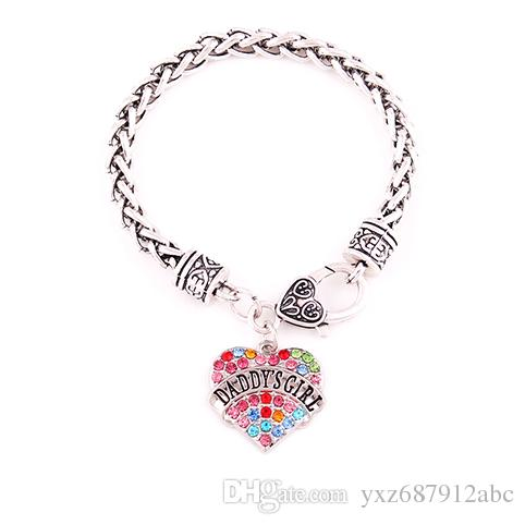 efced91c63b New Arrival Rhodium Plated With Colorful Crystals DADDY'S GIRL Heart ...
