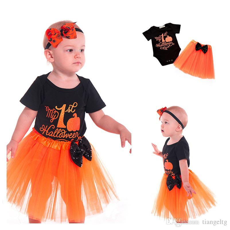 2018 baby halloween romper skirt suit pumpkin clothing sets pumpkin printed romper bow skirt my 1st halloween 3 18m from tiangeltg 699 dhgatecom
