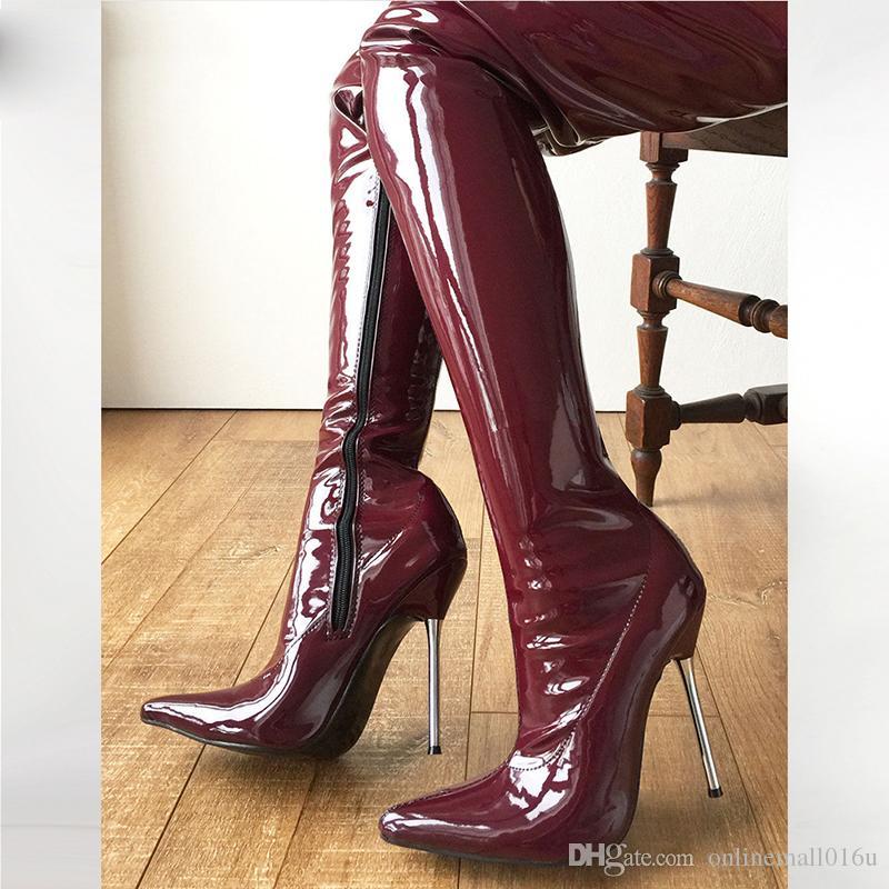 Sexy Fetish Unisex Lange Stiefel Extreme High Heel 12 cm Over-The-Knie Schritt Schuhe Shiny / Matte Patent PU Leder Oberschenkel hohe Stiefel