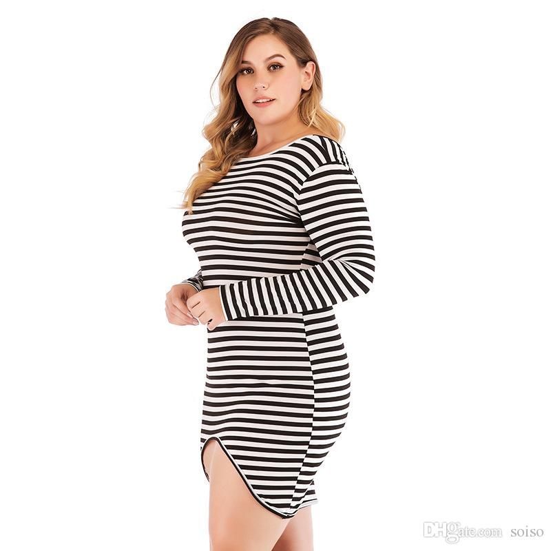 1c167865eb0c2 2018 autumn large size fat women s dress New Fashion long-sleeved striped  loose fat MM stretch slim dress Party Evening Dresses