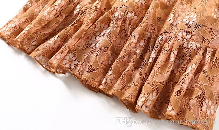 Vestido delgado 2018 Nueva moda europea Primavera Mujeres XXL Vintage Nueva manga larga Hasta la rodilla Sesy Hollow out Vestido de encaje elegante