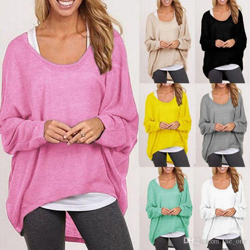6b7a8378f94 2019 Batwing Sleeve T Shirt Women Long Sleeve Pullovers Summer Autumn Jumper  Blouse Pull Femme Loose Tops Shirt Knitwear Maternity Tee From The one