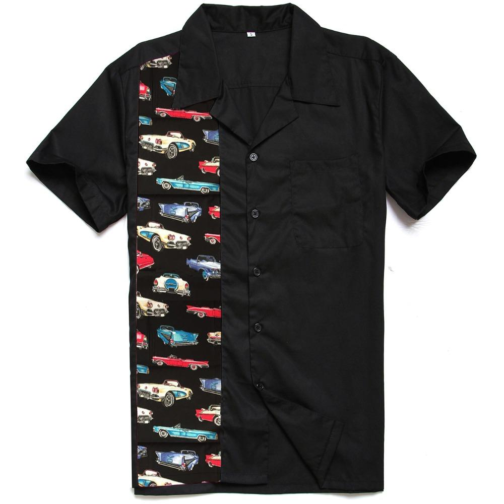 Wholesale Mens Shirts 50s 60s Rockabilly New Designs Vintage Cars Printing American style Men's Casual Rocknroll Shirt