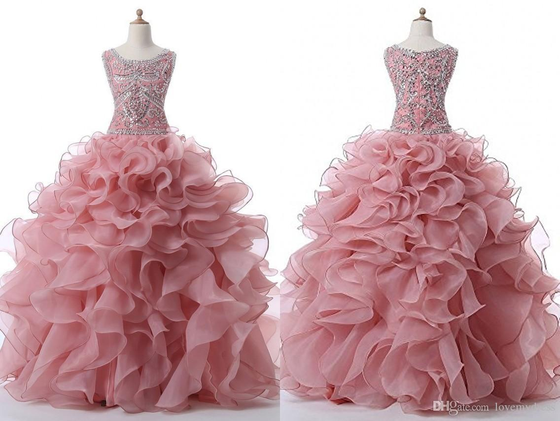 d33aee0978a3 Fashion Dusty Rose Jewel Quinceanera Prom Dresses Ruffled Organza ...