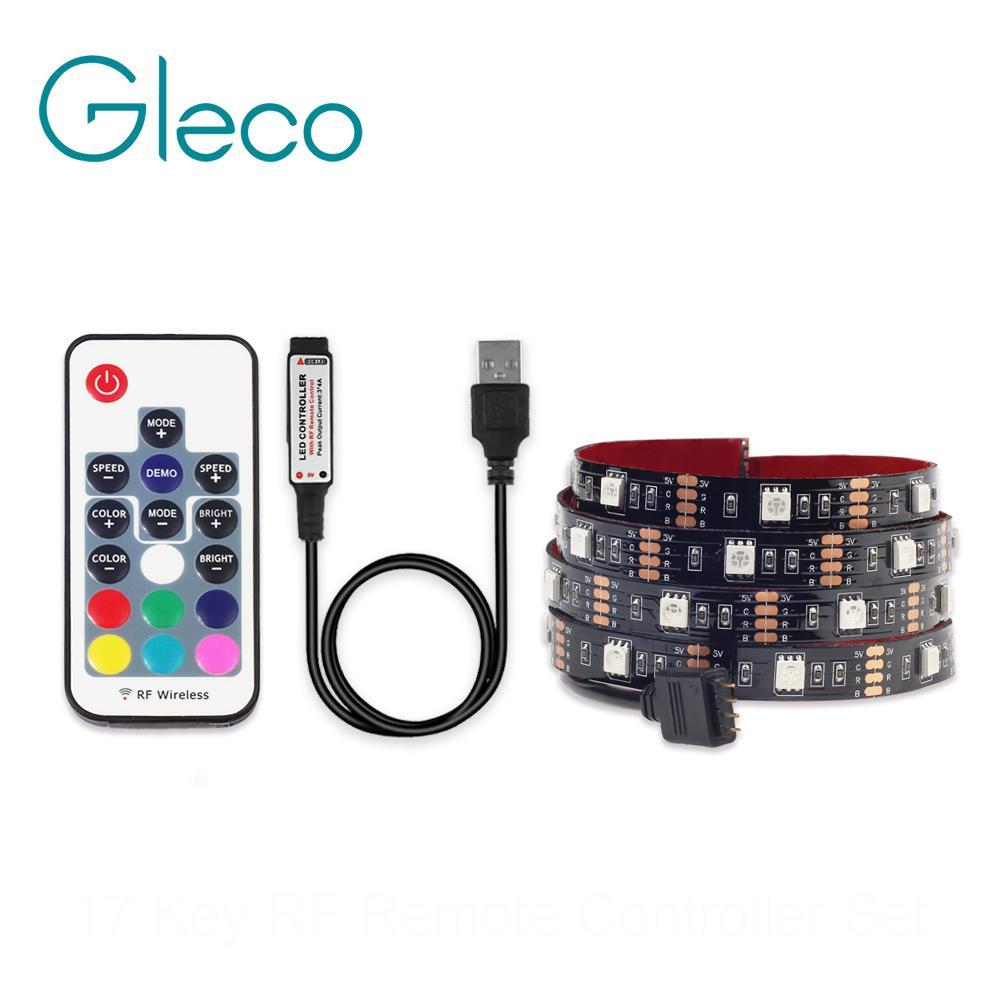 USB LED Strip Light 5050 RGB 1M 2M IP65 Waterproof TV Background ...