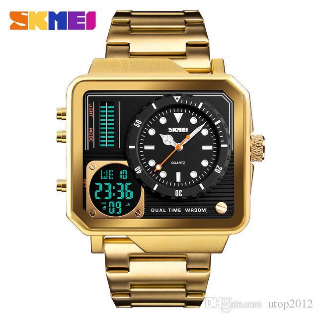 Prächtig Großhandel DHL Großhandel SKMEI Herren Gold Uhren Digital &NY_97