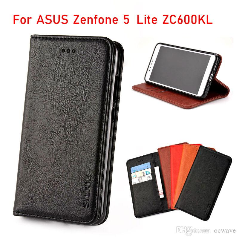 san francisco 9dd95 054c7 For ASUS Zenfone 5 Lite ZC600KL case Luxury Flip cover Vintage Leather with  Card Slot Without magnets with Card Slot fundas coque