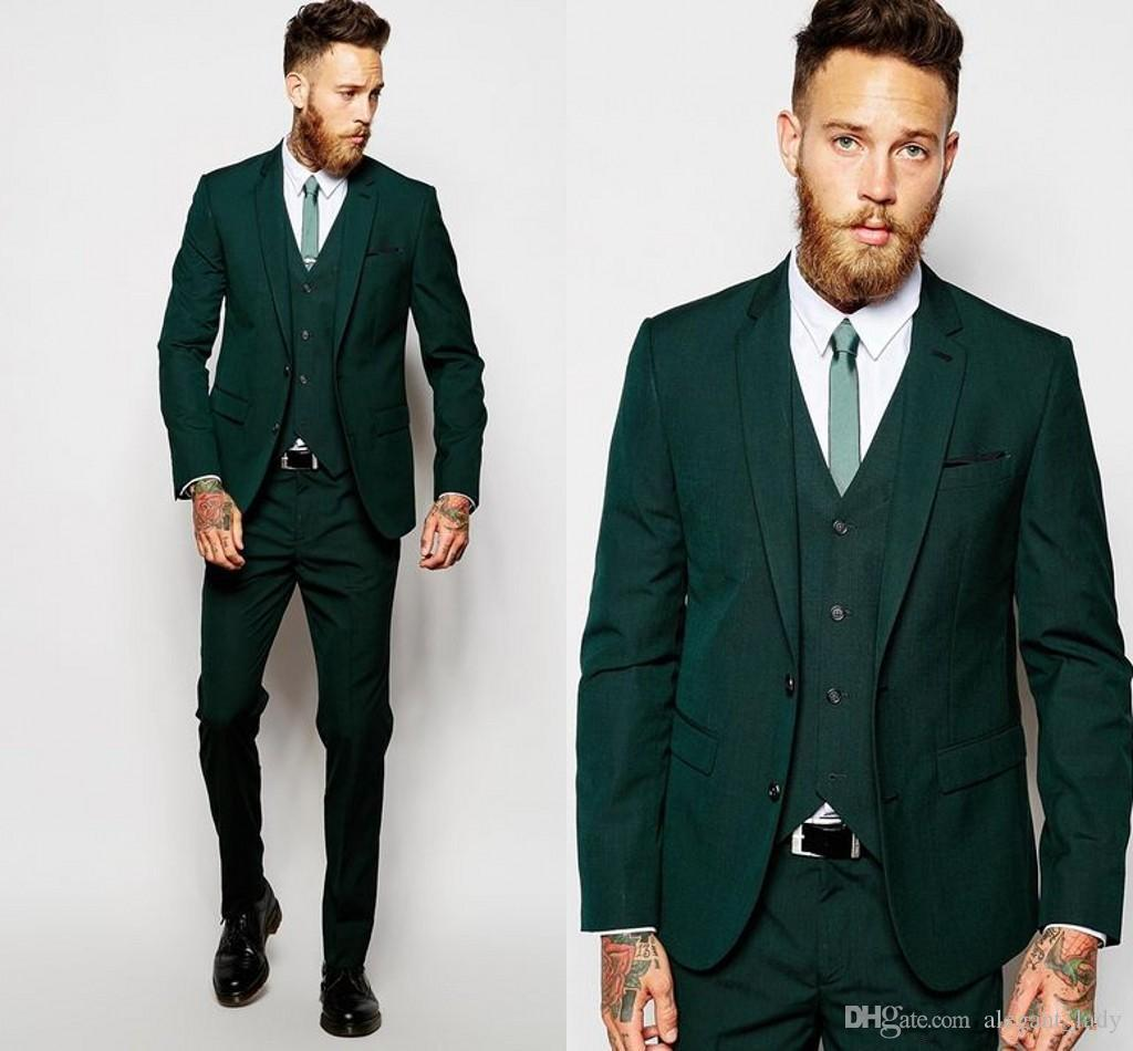 41f000fa8f1203 Hunter Green Formal Wedding Men Suits For Groomsmen Wear Three Piece Trim  Fit Custom Made Groom Tuxedos Evening Party Suit Jacket Pants Vest Mens  Wedding ...