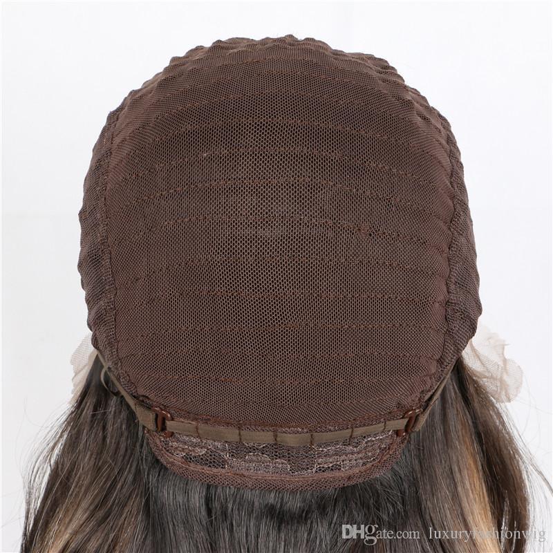 Lace Front Perücken blonde braune gemischte Ombre seidig gerade synthetische Lace Front Perücken natürliche leimlose hitzebeständige Faser Haar für die Frau