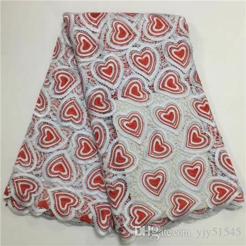 TPY1018 Siyah + kırmızı ücretsiz kargo işlemeli gipür dantel kumaş, parti elbise için en kaliteli Afrika kord dantel kumaş!