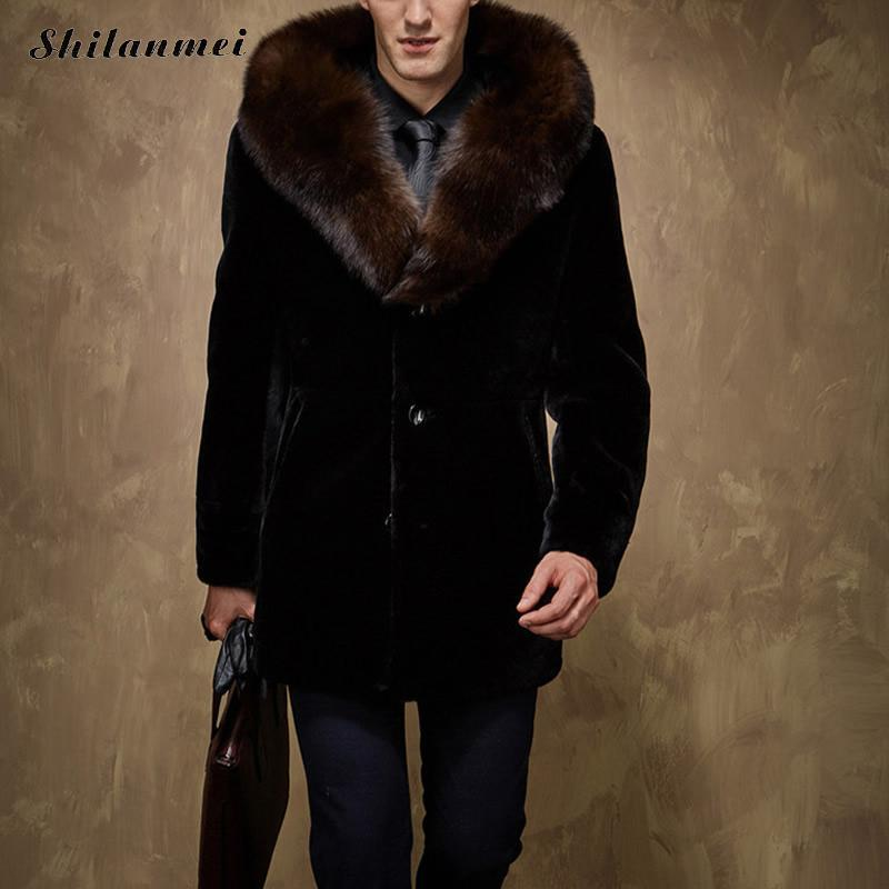 9a0470459774 2019 2017 New Men s Winter Faux Fur Coats For Men Long Black Thick Mens Fur  Coat Warm Fashion Mens Jackets Big Size Overcoat 5xl From Hongzhang