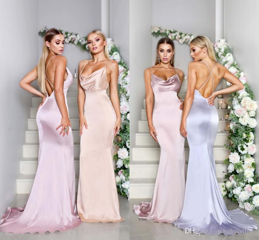 Sexy Backless Women New Summer Bridesmaids Dresses 2019 Matte Satin Mermaid  Spaghetti Straps Long Wedding Guest Party Evening Gowns Magenta Bridesmaid  ... 7b2332a33006