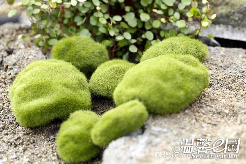 Wholesale Artificial Moss Flocking Stone Fake Stone Moss Lawn Micro Landscape Decoration Accessories Miniature Bonsai Terrarium Decor