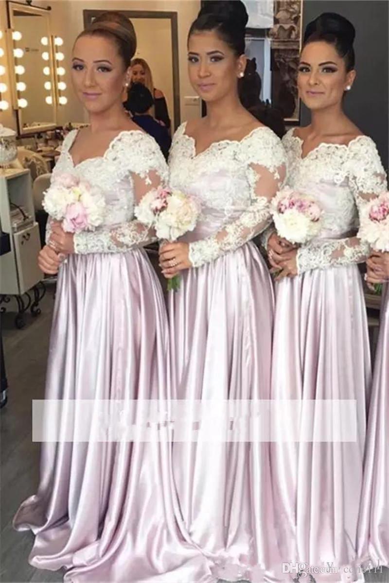 Großhandel 17 Neue Sexy Elegante Rosa V Ausschnitt Weißer Spitze  Brautjungfer Kleider Langarm A Line Bodenlangen Trauzeugin Kleider Hochzeit  Gäste