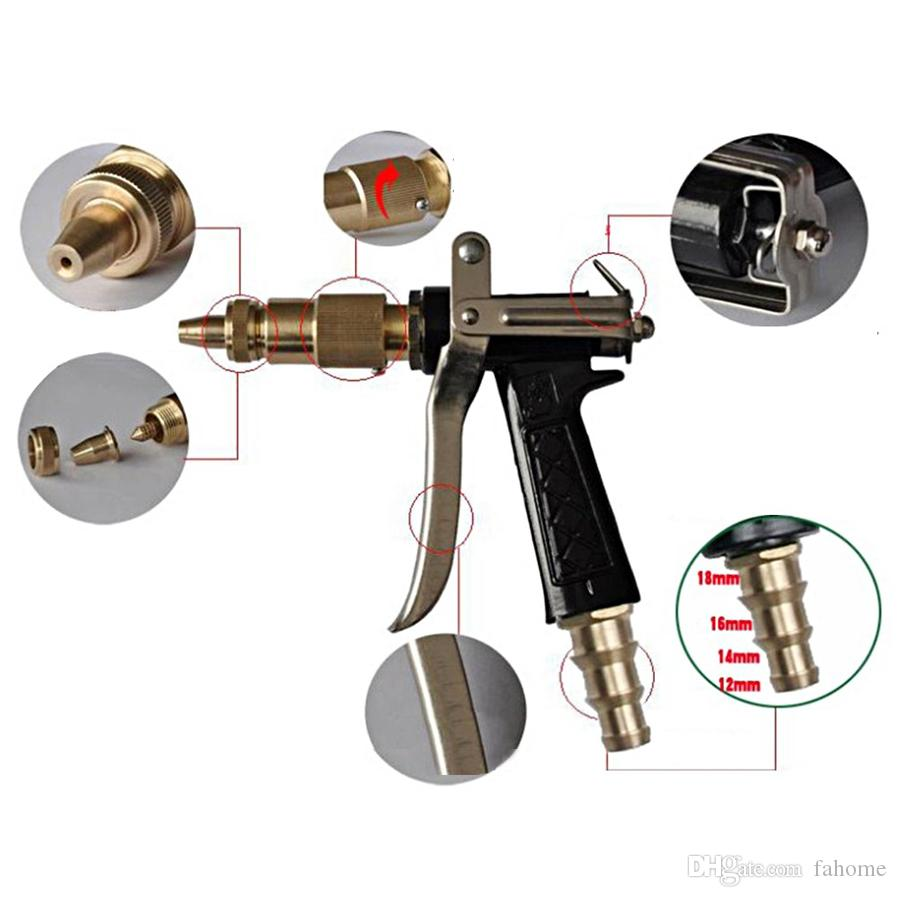 Adjustable Copper Brass Hose Spray Nozzle Water Gun - Garden Hose Water Pressure Guns For Garden Watering / Cars Vehicles Washing