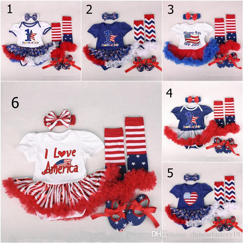 d78526450 2019 American Flags Baby Girls Tutu Dresses Rompers Headbands Shoes ...