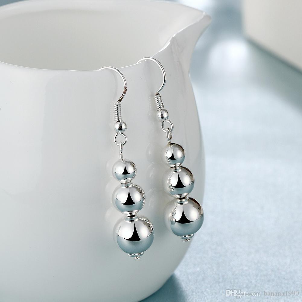 Amazon Hot Sell 2018 Cheap Silver Dangle Ball Sphere Hook Earrings Women Ear Jewelry Charms 1 x 3 cm 4.6 g