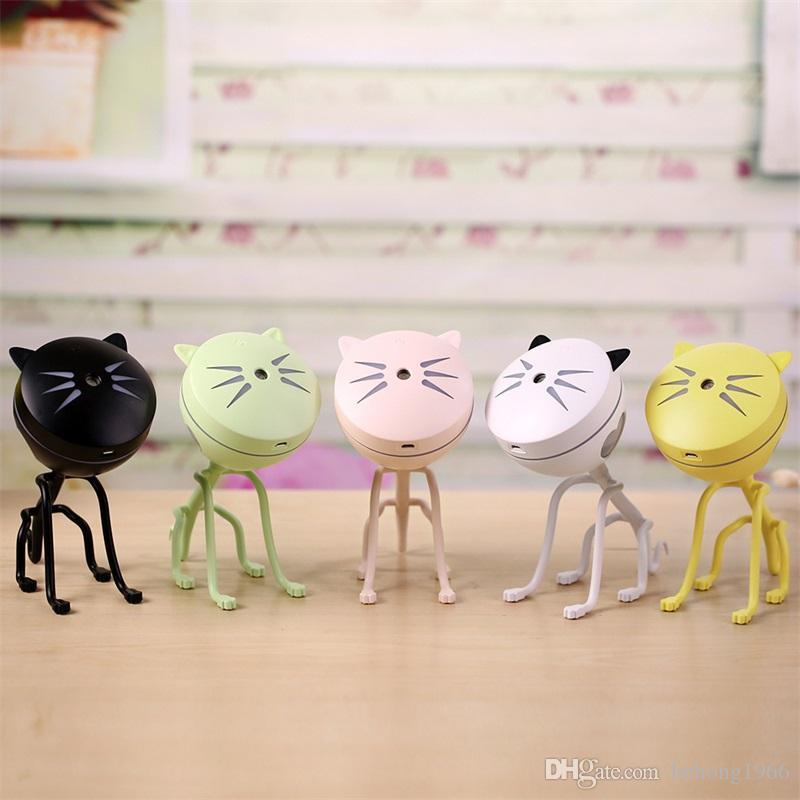 Kawaii Chat Purificateur D'air Salon Bureau Bureau Petit Mini Silicone Nuit Lumière Humidificateur USB Véhicule Alimentation Anion Purificateurs 35 m Y