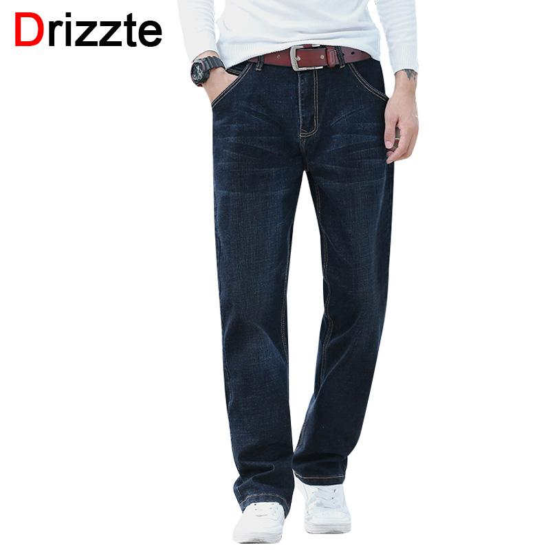c89b19673abd3 2019 Drizzte Loose Fit Jeans Fashion Mens Stretch Denim Jean Relax Fit Trousers  Pants Jean Plus Size 36 38 40 42 44 Blue Black From Beenni