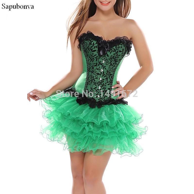 aa27aad8571 2019 Sapubonva Sexy Lace Corset Bustier Lace Evening Women Casual Skirts Plus  Size Push Up Gothic Corset Dress Party Green Burlesque From Hongxigua