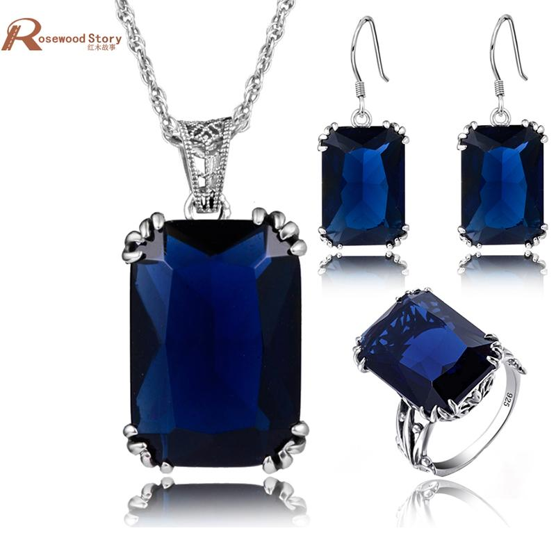925 Sterling Silver Jewelry Blue Stone Crystal Engagement Wedding For Women Retro Crown Ring Pendant Earring African Jewelry Set
