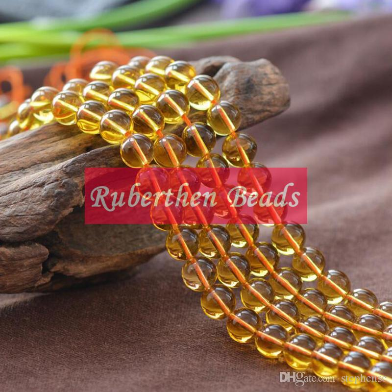 NB0076 High Quantity Yellow Crystal Natural Stone Citrine Quartz Loose Beads Stone Round Bead Best Jewelry Making Accessory