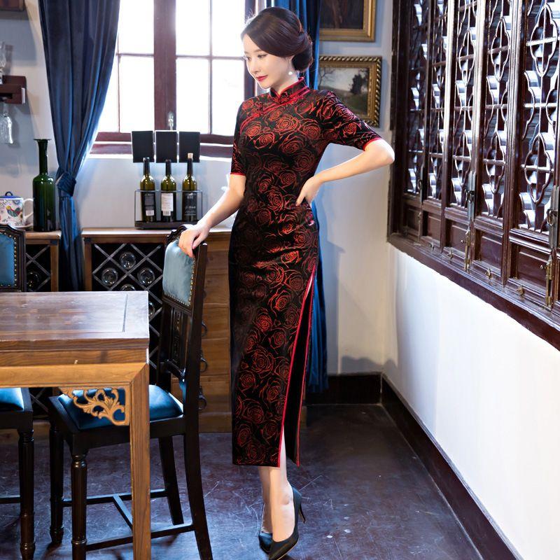 1cc7bd65ba04 2019 Black Red Traditional Chinese Dress Women S Satin Long Cheongsam Qipao  Flower Short Sleeve Chinese Oriental Dresses Size M 4XL From Bairi
