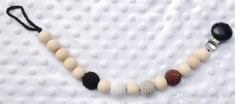 Baby Pacifier Clip Dummy Holder Chain Natural wooden beads Crochet covered beads - Safe for teething